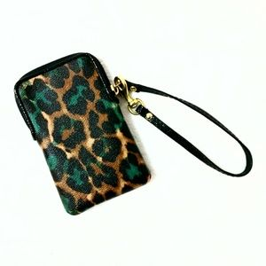 Coach Bags - Coach Leopard Animal Print Cell Phone Wristlet